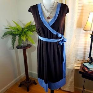 Motherhood maternity sz lg dress brn/light blue